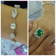 Fancy diamonds bracelet & Colombian emerald ring