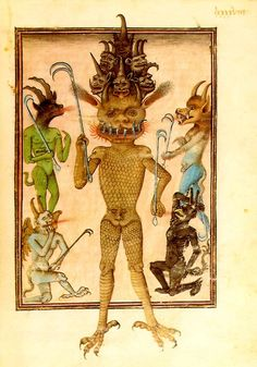Illustration of Lucifer, taken from a French manuscript of the fifteenth century in which a series of pictures illustrate 'last things' and Christ's second coming
