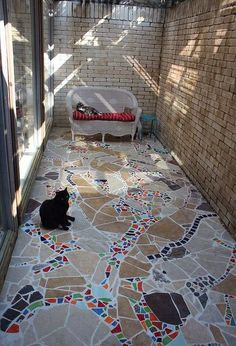 The bricked-in area outside of our master bath will be a great place to design a patio for our cats.otherwise known as a catio. We started with a brainstormi…