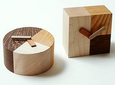 "Wood clock Maple, Zelkova, Bombay Blackwood Hands: Kojiro elm, Karin. Round"" 100mm x 60mm, Square: 90mm x 60mm x 90mm - $70"