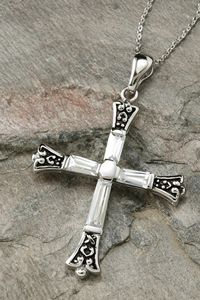Forgiven Sterling Silver Cross Necklace - The crystal in the cross represents that we are purified and our sins are washed away because Jesus forgives us when we come to him with a repentant heart