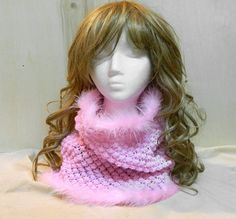 Sweet pink cowl neck warmer hand knit winter by YANKAcreations