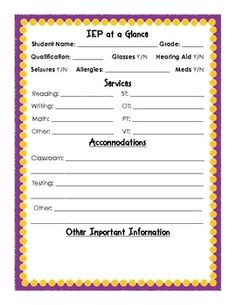IEP at a glance sheet. Help teachers remember what services each kid gets!!