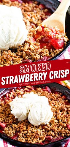 No need to heat up your house to enjoy this delicious treat! This simple recipe takes only 15 minutes of prep. With a golden brown topping, this Smoked Strawberry Crisp will wow your family and friends. Serve this spring dessert idea with a scoop of vanilla ice cream! Easy Homemade Recipes, Simple Recipes, Amazing Recipes, Yummy Recipes, Yummy Food, Healthy Recipes, Summer Grilling Recipes, Spring Recipes, Easter Recipes