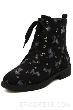 best sneakers 117c7 570c5 Cat Print Lace-Up Flat Heel Boots 3
