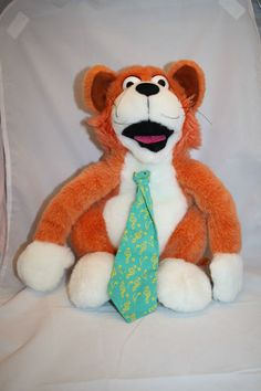 "Arpeggio Orange Cat Plush White Puppet Stuffed Animal Toy 15"" Green Tie Music"