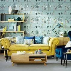 Bird Wallpaper Living Room Color Schemes New Ideas Living Room Wallpaper Yellow, Teal Living Rooms, Accent Walls In Living Room, Living Room Color Schemes, Living Room Sofa, Home Living Room, Living Room Furniture, Living Room Decor, Duck Egg Living Room
