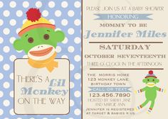 Blue and Green Sock Monkey Baby Shower by EmmyJosParties on Etsy, $12.00