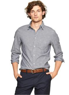 Grey shirt, navy pants