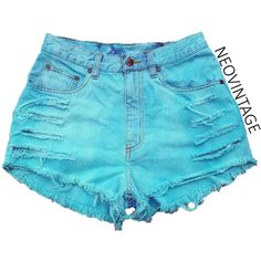Teal Turquoise Blue Green Dyed High Waisted Denim Frayed Festival... ($18) ❤ liked on Polyvore featuring shorts, bottoms, blue, pants, black, women's clothing, high-waisted shorts, green shorts, frayed denim shorts and ripped high waisted shorts