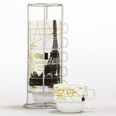 So unique for Parisian Inspired Kitchen! — Eiffel Tower Stacking Mugs! This unique set saves space and stores beautifully to create a full view of the Eiffel Tower from the ground up. Perfect for morning coffee or tea! Tour Eiffel, Paris Tour, Paris Theme, Paris Decor, Just Dream, Dream Big, Kitchen Themes, Kitchen Decor, World Market