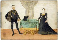 Porträt    Erzherzog Ferdinand II., Philippine Welser    Dieses Bild: 015870  1575 ; 1575 ; Lauf-Neunhof ; Deutschland ; Schwaben ; Freiherrlich von Welsersche Familienstiftung