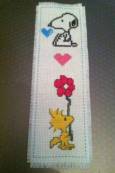 """cuteasmybutt: """"Handmade New Completed Finished Cross Stitch Bookmark Dog Peanuts """"SNOOPY"""