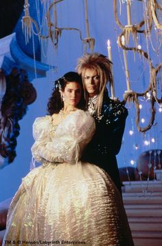 David Bowie and Jennifer Connelly - Labyrinth film) Labyrinth Film, Sarah Labyrinth, Goblin King Labyrinth, Jennifer Connelly, Masquerade Gown, Masquerade Wedding, Halloween Masquerade, Labrynth, Movies And Series