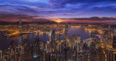 Sunrise over Victoria Harbor as viewed atop Victoria Peak by Anek S on 500px