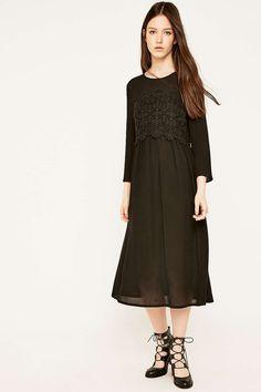 e88280d585c7 Pins   Needles Black Lace Overlay Midi Dress