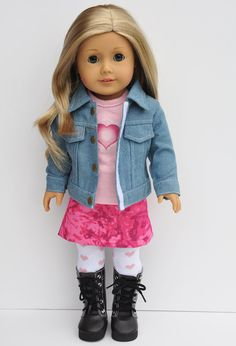 American Girl Clothes - Pink Graphic Tee Hot Pink Feathered Heart Lgt Denim Jacket Hot PInk Tie Dye Mini Skirt Heart Tights