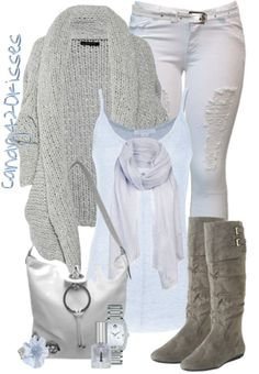 Winter White & Gray Outfit.  Sweater, Top, Jeans, Scarf, Boots & Purse.