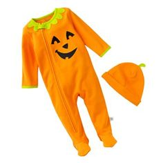 First Moments Pumpkin Halloween Costume Coveralls and Hat Set - Baby
