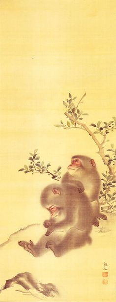 MORI Sosen (1747-1821), Japan 森狙仙 Japanese Art Styles, Japanese Prints, Chinese Painting, Chinese Art, Art Chinois, Monkey Art, Japan Painting, Year Of The Monkey, Korean Art