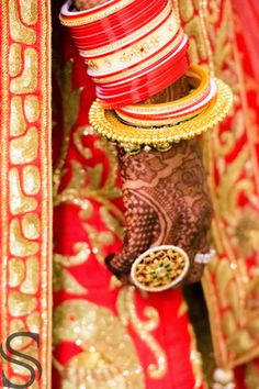 Bridal Details - WedMeGood  Red and Gold Bridal Bangles with a Gold Bangle and a Cocktail Ring  #wedmegood #bridal #details