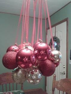 Easy Christmas decoration with ball ornaments on chandelier #diy #crafts