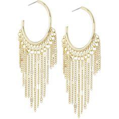 Lydell NYC Golden Tassel-Drop Hoop Earrings ($25) ❤ liked on Polyvore featuring jewelry, earrings, accessories, gold, gold earrings, gold chain jewelry, chain tassel earrings, chain hoop earrings and gold hoop earrings