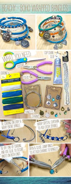 DIY Beach Boho Bangles Bracelets  Fashion Jewelry - Bead Landing Charmalong available at your local Michaels store.