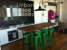 """High bar table made of reclaimed wood. We create by UrbanWoodGoods, $1895.00 84"""" l x 28"""" w x 42"""" tall"""