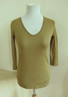 Michael Stars Shine V-Neck 3/4 Sleeve Tee Top Gilded Gold Shimmer 0081 Basic #MichaelStars #KnitTop #Casual