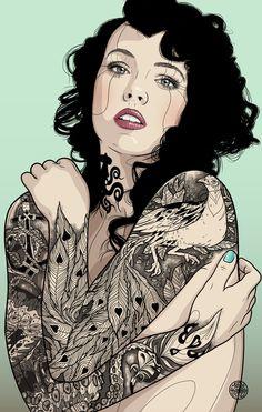 PEACOCK GIRL by Tavo Montañez, via Behance