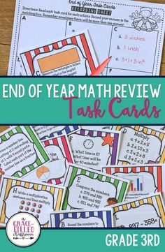 These end of year math task cards are perfect for your 3rd Grade class! They are a fun and engaging way to review this year's standards. This product comes with 24 different cards for the students to practice. Plenty to use in a day or spread out throughout the week. I've also included 6 different variations on how to use these task cards. |Math| Holidays|Seasonal|End of Year|
