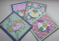 These are so sweet!  Little Owls  Set of four Mini Blank by CraftyMushroomCards on Etsy