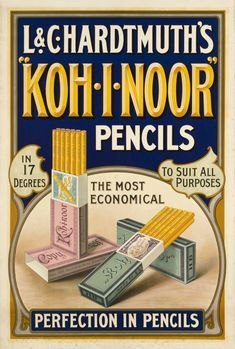 1900 Crayons and pencils Koh-I-Noor, vintage advert poster