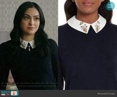 Veronica's black sweater with embellished collar on Riverdale. Outfit Details: https://wornontv.net/89102/ #Riverdale