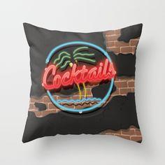 Cocktails Retro 80s neon sign Throw Pillow