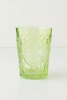 Fleur-De-Lys juice glasses (green) from Anthropologie Shops, Holding Flowers, Dinner Sets, Mixed Drinks, Accent Colors, Bar, Jewelry Gifts, Jewellery, Colors