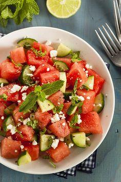 Salade de melon d'eau et de concombre - Châtelaine
