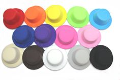 """Lot of Six Mini Top Hat Fascinator Base WITH HAIRCLIPS - 5"""" Diameter - Available in 14 Colors"""