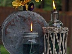 How to make your own mosquito repelling citronella candles – The Owner-Builder Network Mason Jar Crafts, Mason Jar Diy, Mason Jar Lamp, Bottle Crafts, Citronella Candles, Oil Candles, Citronella Oil, Ideas Paso A Paso, Biscuit