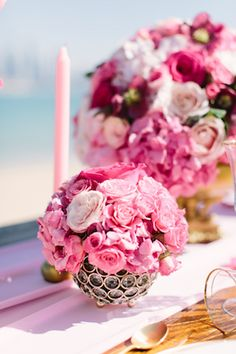 Hot pink wedding floral centerpieces | Joem Aldea Photography for The Wedding and Event Institute Arabian Campus