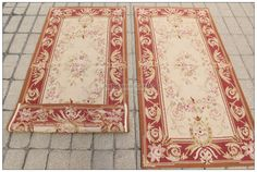 "2'3""X4'8 Antique French Style Aubusson Area Rug Mat Wool Hand Woven Home Carpet 