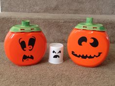 Jack-o-lanterns from Tide Pods containers