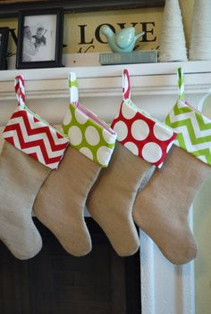 Burlap Christmas Stocking Ready to Ship Christmas Stocking Set of 4 Burlap Red and Green Zig Zag Chevron and Polka Dot