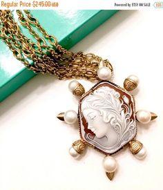 Natalie Baroni Goddess Cameo Necklace Hand by Vintageimagine