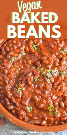 Baked Bean Recipes, Vegetarian Recipes Easy, Crockpot Recipes, Cooking Recipes, Vegetarian Food, Vegan Side Dishes, Side Dish Recipes, Tasty Dishes, Vegetarian Baked Beans