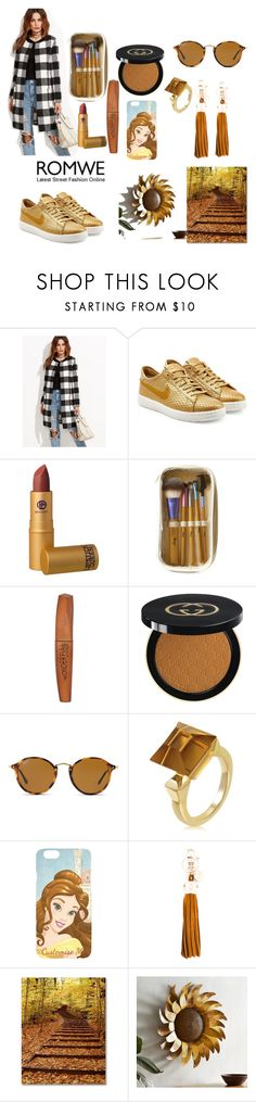 """""""Untitled #50"""" by arisaa-cci ❤ liked on Polyvore featuring NIKE, Lipstick Queen, Rimmel, Gucci, Ray-Ban, Disney, See by Chloé and Pier 1 Imports"""