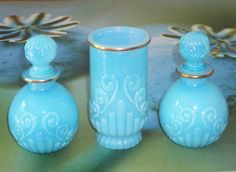 vintage avon perfume bottles french blue opalescent