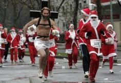 Catch That Jesus! In This Picture: Photo of a santa claus fail