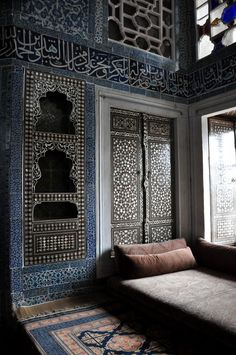 Moroccan moorish tiles and interior. I love the blue and brown tones. Asian Interior, Home Interior Design, Interior And Exterior, Interior Decorating, Luxury Interior, Moroccan Design, Moroccan Decor, Moroccan Style, Modern Moroccan